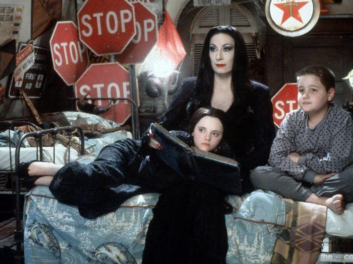 """<p>The creepy, kooky, mysterious, and spooky mother-daughter duo  will be a hit with both generations, thanks to their many iterations: a 1964 television series, 1991 film, and now an animated movie out on October 11. Whether you <a href=""""https://www.amazon.com/Roux-Fanci-Full-Rinse-Black-Fluid/dp/B002D8D0EK/"""" target=""""_blank"""">dye your hair</a>, opt for a <a href=""""https://www.amazon.com/MapofBeauty-Fashion-Straight-Costume-Anime/dp/B00GX062CG"""" target=""""_blank"""">wig</a>, or work with your own dark locks, the stick straight and braided hairstyles will complete these goth costumes.</p><p><strong>What You'll Need: </strong><a href=""""https://www.amazon.com/Vivicastle-Womens-Solid-V-Neck-Sleeve/dp/B01AVON8XK"""" target=""""_blank"""">Black V-neck dress </a>($30, Amazon); <a href=""""https://www.amazon.com/Addams-Family-Childs-Wednesday-Costume/dp/B001CTRY6Q/"""" target=""""_blank"""">black dress with white collar</a> ($18, Amazon)</p>"""