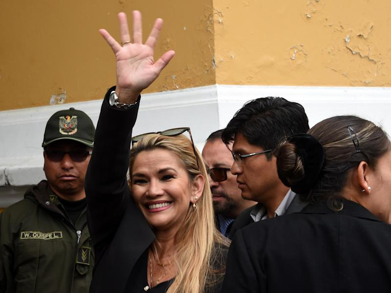 Jeanine Anez arrives at the Congress building in La Pa on Tuesday: AFP via Getty Images