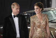 Britain's Prince William, left, and his wife Kate the Duchess of Cambridge arrive for the World premiere of the new film from the James Bond franchise 'No Time To Die', in London Tuesday, Sept. 28, 2021. (Photo by Vianney Le Caer/Invision/AP)
