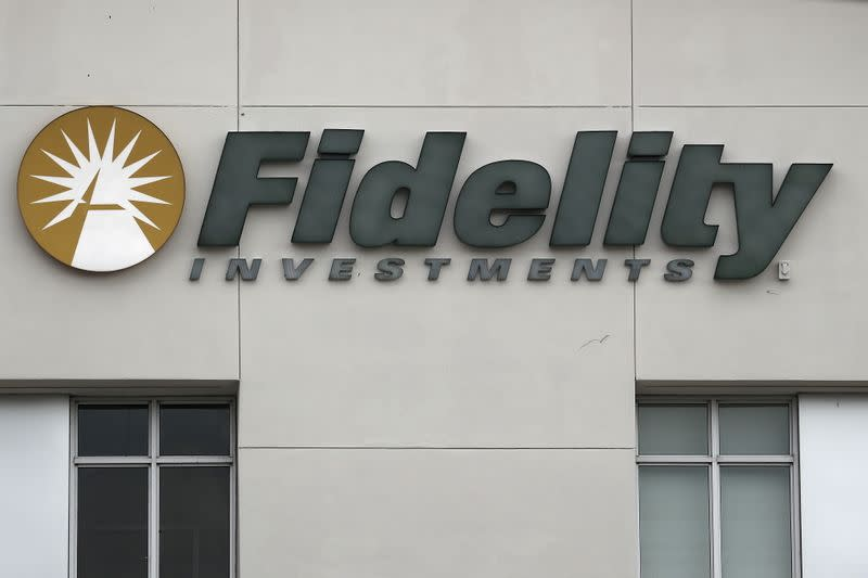 A Fidelity Investments store logo is pictured on a building in Boca Raton, Florida