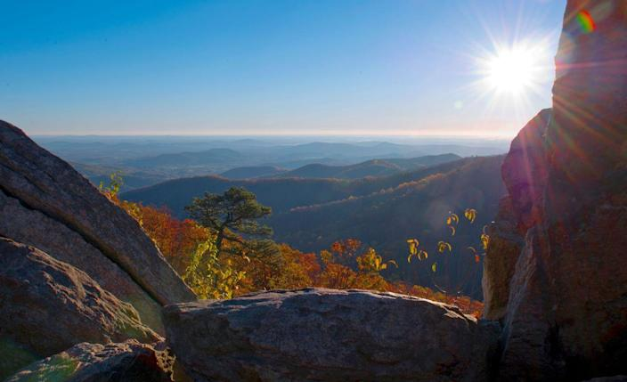 <p>The sun rises over an autumn day at Shenandoah National Park in Virginia. // November 5, 2016</p>