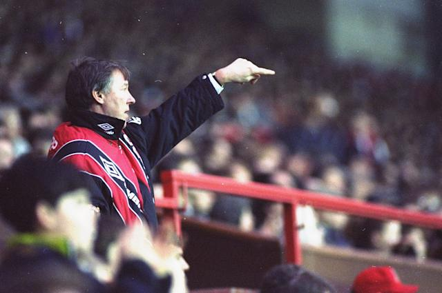 1990: Portrait of Manchester United Manager Alex Ferguson during a Barclays League Division One match against Brighton and Hove Albion at Old Trafford in Manchester, England. Manchester United won the match 1-0. \ Mandatory Credit: Gary M Prior/Allsport
