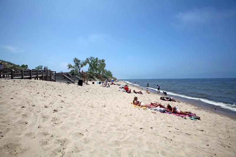 West Beach in Indiana Dunes National Park is a popular spot for sunbathing and swimming in summer.