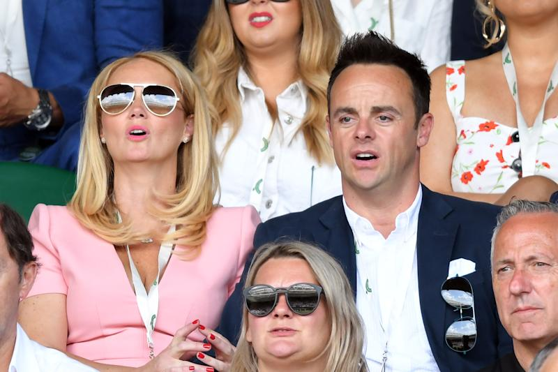 LONDON, ENGLAND - JULY 08: Anne-Marie Corbett and Ant Mcpartlin attend day seven of the Wimbledon Tennis Championships at All England Lawn Tennis and Croquet Club on July 08, 2019 in London, England. (Photo by Karwai Tang/Getty Images)