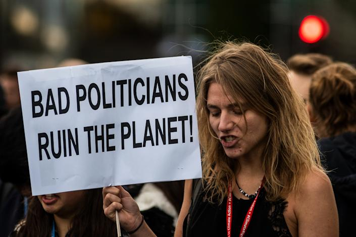 Protesters at the 2019 U.N. Climate Change Conference COP25