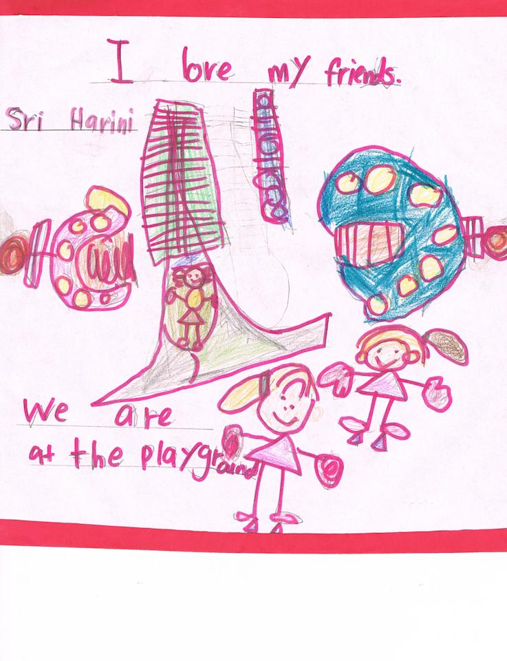 Sri Harini loves being with her friends, especially at the playground where they can play on the slides. (The Living Book Schoolhouse)