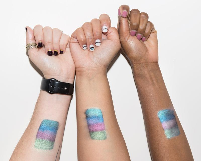 See the Kat Von D Alchemist Holographic Palette Swatched on 3 Skin Tones