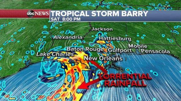 PHOTO: Torrential rainfall is expected along the central Louisiana coast. (ABC News)