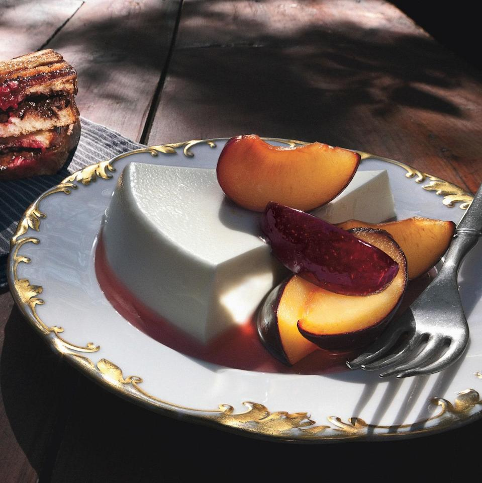 """Making the panna cotta in a cake pan gives this classic dessert a new look. <a href=""""https://www.epicurious.com/recipes/food/views/yogurt-panna-cotta-with-fresh-plums-359810?mbid=synd_yahoo_rss"""" rel=""""nofollow noopener"""" target=""""_blank"""" data-ylk=""""slk:See recipe."""" class=""""link rapid-noclick-resp"""">See recipe.</a>"""