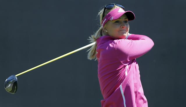 Anna Nordqvist, of Sweden, hits her tee shot on the first hole during the final round of the LPGA Kia Classic golf tournament in Carlsbad, Calif., Sunday, March 30, 2014. (AP Photo/Alex Gallardo)