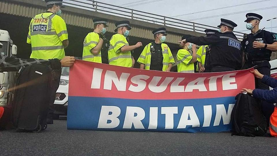 Further protests will take place on Monday (Insulate Britain/PA) (PA Media)