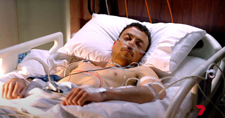 Dean in a hospital bed.