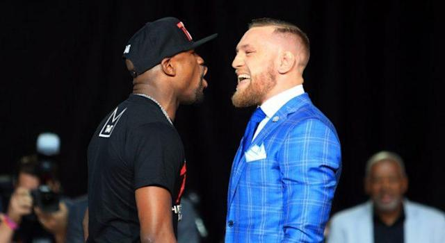Floyd Mayweather and Conor McGregor had a staredown for the ages Wednesday (Getty)