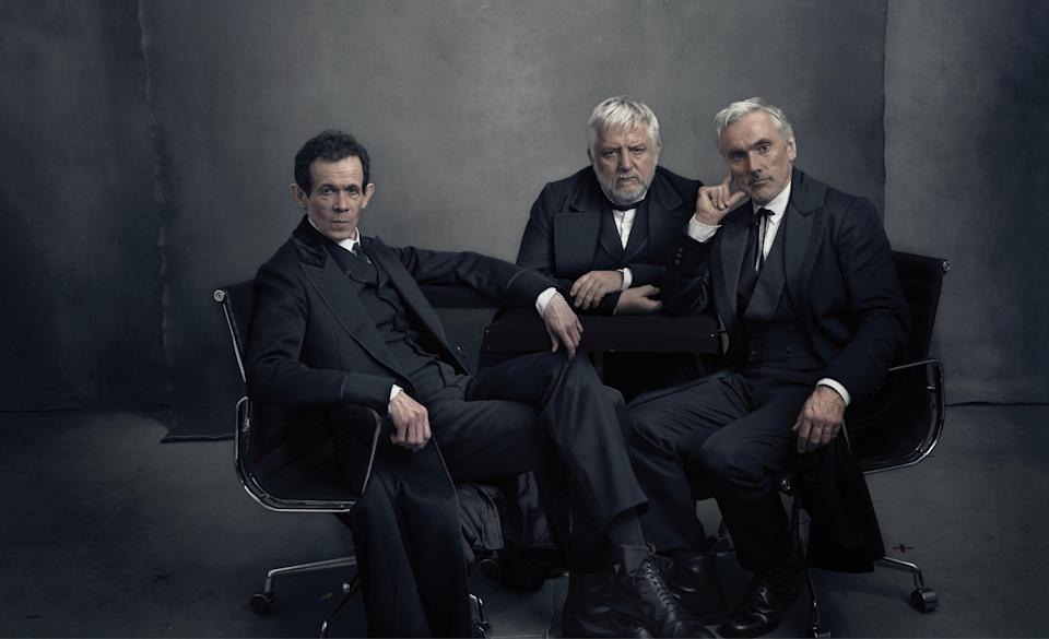 Adam Godley, Simon Russell Beale, and Ben Miles. Hair and makeup, Giuseppe Cannas and Moira O'Connell. Sittings Editor: Tonne Goodman.