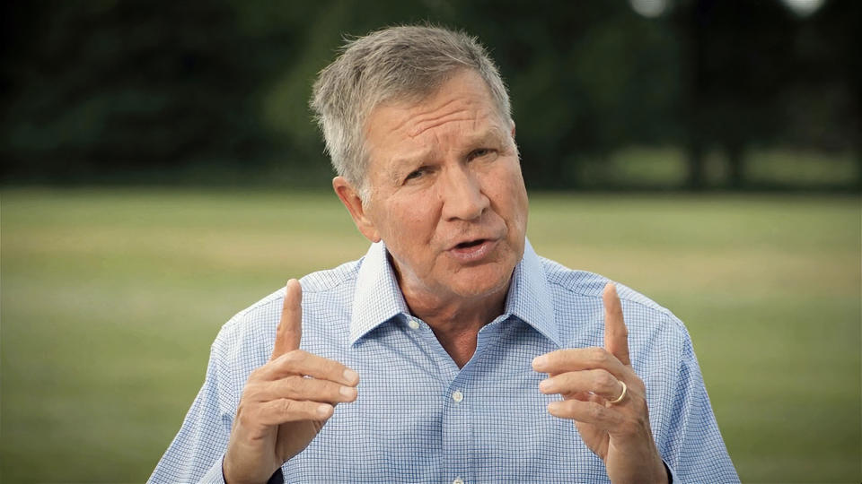 In this image from video, former Republican Ohio Gov. John Kasich speaks during the first night of the Democratic National Convention on Monday, Aug. 17, 2020. (Democratic National Convention via AP)
