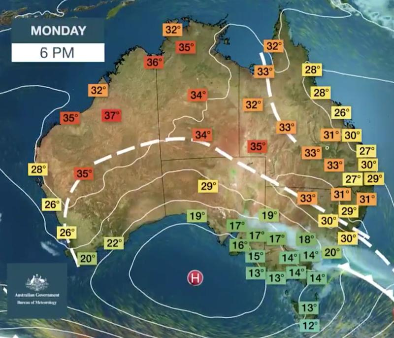 Weather map showing Sydney weather and the trough and low pressure system passing across the NSW coast.