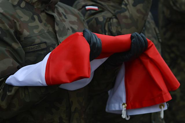<p>The official celebrations of Polish Independence Day takes place in Krakow's Matejko Square. Poland celebrates the 99th anniversary of the restoration of Poland's sovereignty as the Second Polish Republic in 1918 on Saturday, Nov. 11, 2017. (Photo: Artur Widak/NurPhoto via Getty Images) </p>