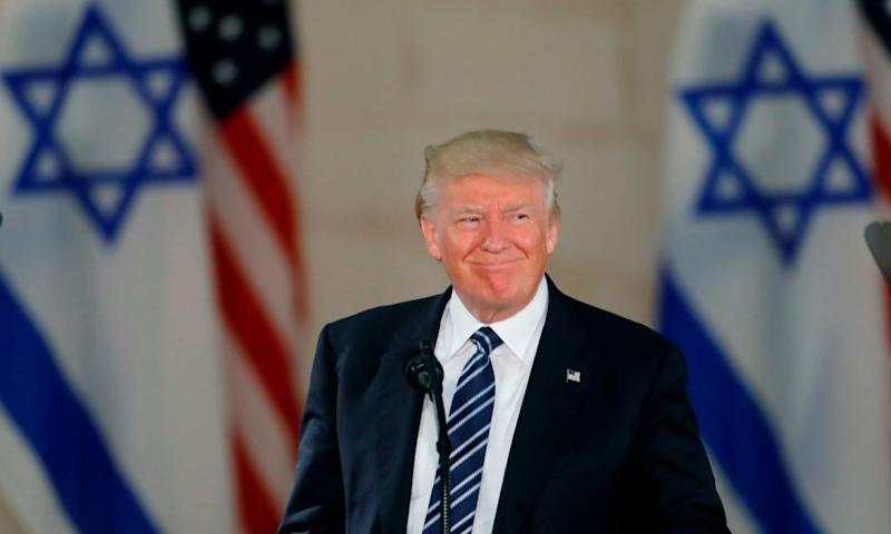 Donald Trump speaking during a visit to the Israel Museum in Jerusalem