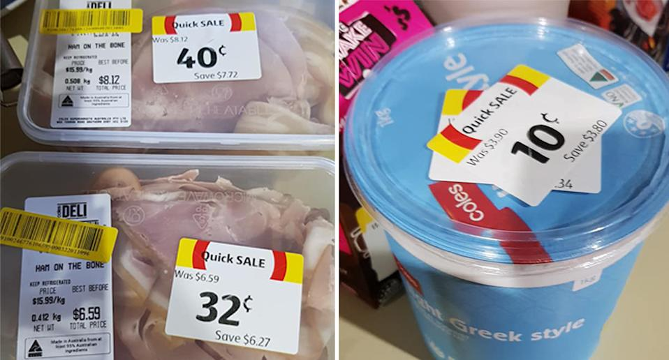 Ham and yoghurt from Coles in Victoria discounted to less than 40 cents each.
