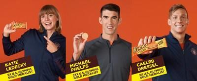 23x U.S. Olympic Gold Medalist and Swimming Legend, Michael Phelps, 5x U.S. Olympic Gold Medalist, Katie Ledecky and 2x U.S. Olympic Gold Medalist Caeleb Dressel form the Ultimate Team Reese's