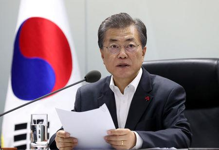 South Korean President Moon Jae-in presides over the national security council at the Presidential Blue House in Seoul, South Korea, November 29, 2017. The Presidential Blue House/Yonhap via REUTERS
