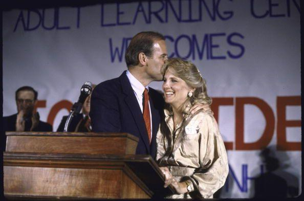 <p>Biden with his wife, Jill, after announcing his bid for the 1988 Democratic presidential nomination. </p>