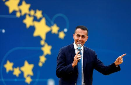 FILE PHOTO: Italian Deputy PM Luigi Di Maio speaks at the 5-Star Movement party's open-air rally at Circo Massimo in Rome, Italy, October 21, 2018. REUTERS/Max Rossi/File Photo