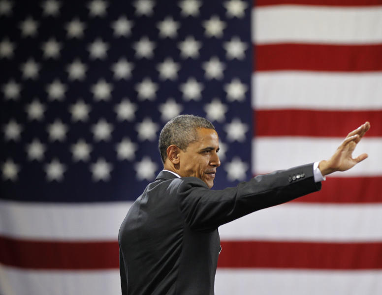 President Barack Obama waves to the crowd after speaking at a fundraiser at Southern Maine Community College, Friday, March, 30, 2012 in Portland, Maine. Obama is traveling to both Maine and Vermont on campaign fundraisers. (AP Photo/Pablo Martinez Monsivais)