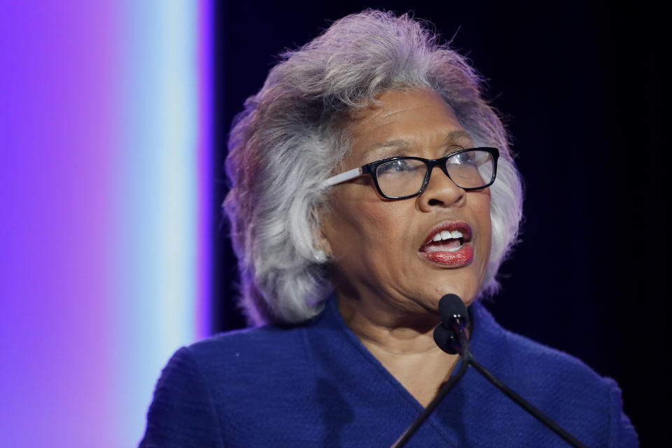 FILE - In this Nov. 6, 2018, file photo, Rep. Joyce Beatty, D-Ohio, speaks to the audience during the Ohio Democratic Party election night watch party in Columbus, Ohio. An open Senate seat in Ohio has set off a round of jockeying among ambitious Democrats and a spirited debate over who is best poised to lead a party comeback in a one-time battleground that has been trending Republican. (AP Photo/John Minchillo, File)