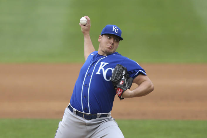 Kansas City Royals' pitcher Brad Keller throws against the Minnesota Twins during the first inning of a baseball game, Sunday, May 30, 2021, in Minneapolis. (AP Photo/Stacy Bengs)