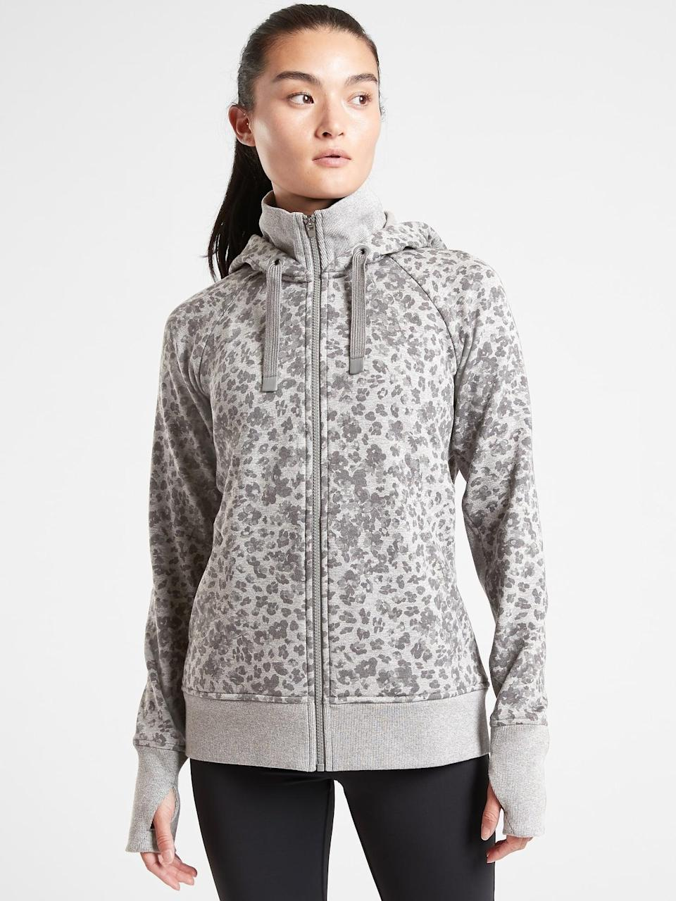 <p>Treat them to this <span>Athleta Triumph Printed Hoodie</span> ($95, originally $118). It's perfect for high-impact workouts and smoothies afterward. </p>