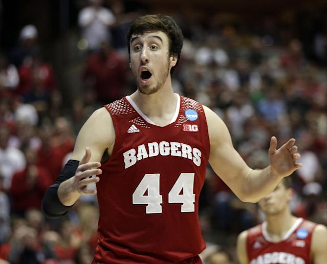 Wisconsin 's Frank Kaminsky reacts to a call during the second half in a regional final NCAA college basketball tournament game against Arizona, Saturday, March 29, 2014, in Anaheim, Calif. (AP Photo/Jae C. Hong)