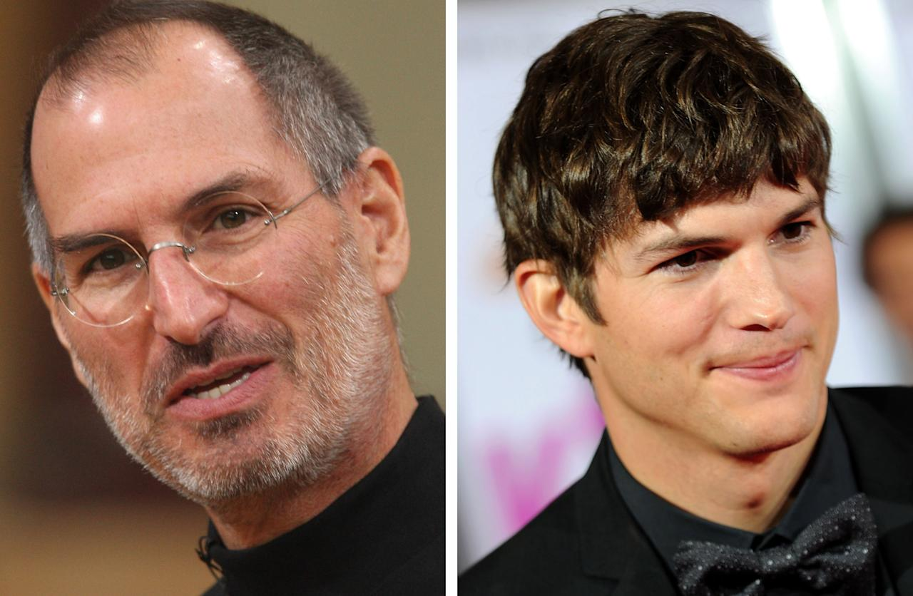 "(FILE PHOTO) In this composite image a comparison has been made between Steve Jobs (L) and actor Ashton Kutcher. Ashton Kutcher will reportedly play Steve Jobs in a film biopic directed by Joshua Michael Stern. ***LEFT IMAGE*** BERLIN - SEPTEMBER 19:  Apple head Steve Jobs speaks at a press conference to announce that T-Mobile will be the partner for selling the iPhone in Germany September 19, 2007 in Berlin, Germany. The iPhone will go on sale for EUR 399 in Germany starting November 9.  (Photo by Sean Gallup/Getty Images)***RIGHT IMAGE*** HOLLYWOOD - JUNE 01:  Actor Ashton Kutcher arrives to the premiere of Lionsgate's ""Killers"" held at ArcLight Cinema's Cinerama Dome on June 1, 2010 in Hollywood, California.  (Photo by Alberto E. Rodriguez/Getty Images)"