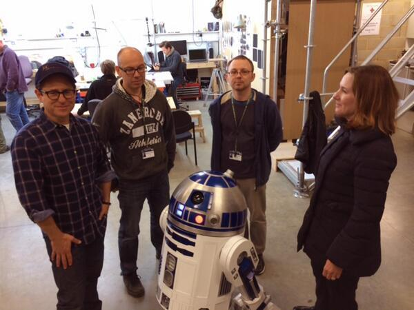 R2-D2 Builders Lee Towersey and Oliver Steeples, flankey by J.J. Abrams and Kathryn Kennedy