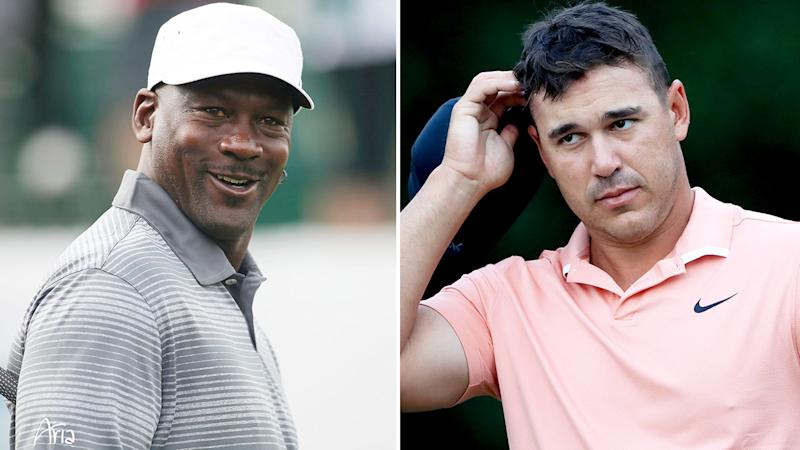 Pictured here, NBA great Michael Jordan and four-time major golf champion Brooks Koepka.