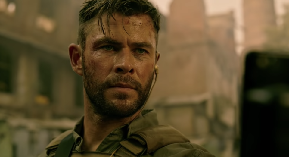Chris Hemsworth in the first trailer for <i>Extraction</i>. (Netflix)