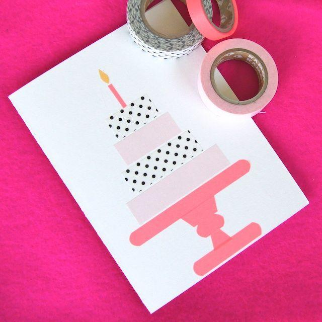 """<p>Only an actual birthday cake would be sweeter than this card adorned with Washi tape to look like a pastry atop a cake stand. </p><p><strong>Get the tutorial at <a href=""""http://www.omiyageblogs.ca/search?q=birthday+card"""" rel=""""nofollow noopener"""" target=""""_blank"""" data-ylk=""""slk:Omiyage Blogs"""" class=""""link rapid-noclick-resp"""">Omiyage Blogs</a>. </strong><br></p>"""