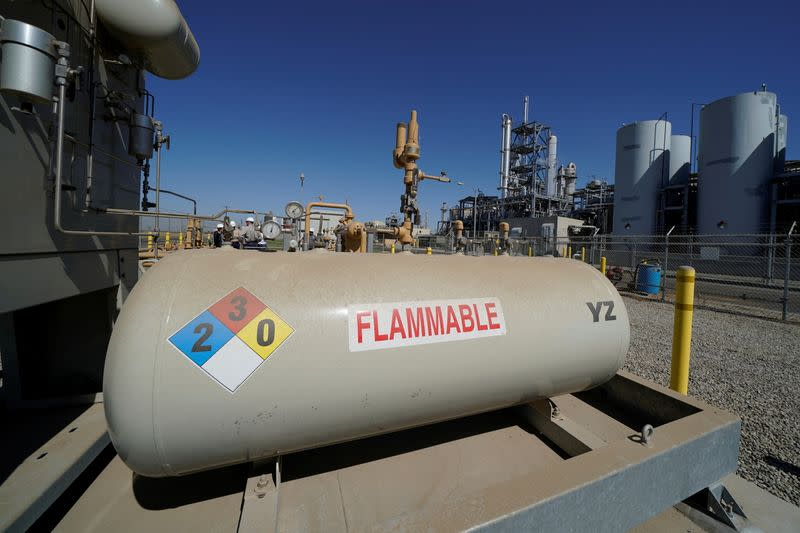 FILE PHOTO: Natural gas is transferred into the SoCalGas system after being collected and purified at a Calgren collection facility in Pixley, California