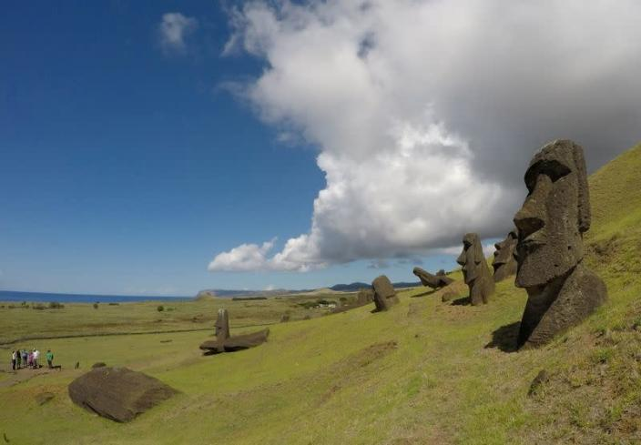 "FILE PHOTO: Statues named ""Moai"" are seen on a hill at the Easter Island"