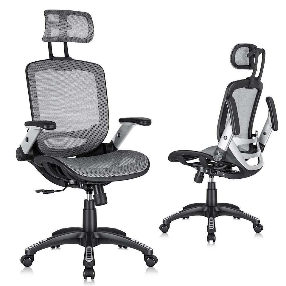 """<h2>Most Popular Ergonomic Office Chair<br></h2><br><h3>Gabrylly Ergonomic Mesh Office Chair</h3><br>One of the top breakout searches under """"ergonomic office chairs"""" on Google Trends is Gabrylly's most-wanted seat. Head over to Amazon, Walmart, and more retailers to get a taste of true, bestselling comfort. <br><br><em>Shop <strong><a href=""""https://amzn.to/3AxPExt"""" rel=""""nofollow noopener"""" target=""""_blank"""" data-ylk=""""slk:Gabrylly"""" class=""""link rapid-noclick-resp"""">Gabrylly</a></strong></em><br><em>Shop <a href=""""https://www.walmart.com/ip/Gabrylly-Ergonomic-Mesh-Office-Chair-High-Back-Desk-Chair-Adjustable-Headrest-Flip-Up-Arms-Tilt-Function-Lumbar-Support-PU-Wheels-Swivel-Computer-Tas/773100030"""" rel=""""nofollow noopener"""" target=""""_blank"""" data-ylk=""""slk:Walmart"""" class=""""link rapid-noclick-resp""""><strong>Walmart</strong></a><br></em><br><br><strong>Gabrylly</strong> Ergonomic Mesh Office Chair, $, available at <a href=""""https://amzn.to/3m5WWmf"""" rel=""""nofollow noopener"""" target=""""_blank"""" data-ylk=""""slk:Amazon"""" class=""""link rapid-noclick-resp"""">Amazon</a>"""