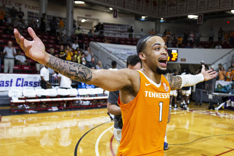 Tennessee guard Lamonte Turner reacts to hitting the winning shot at the buzzer in the Emerald Coast Classic against Virginia Commonwealth in Niceville, Florida, on Saturday.