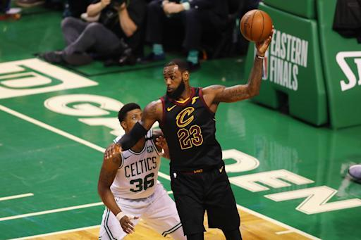 BOSTON, MA - MAY 27: LeBron James #23 of the Cleveland Cavaliers handles the ball in the first half against the Boston Celtics during Game Seven of the 2018 NBA Eastern Conference Finals at TD Garden on May 27, 2018 in Boston, Massachusetts. (Photo by Adam Glanzman/Getty Images)