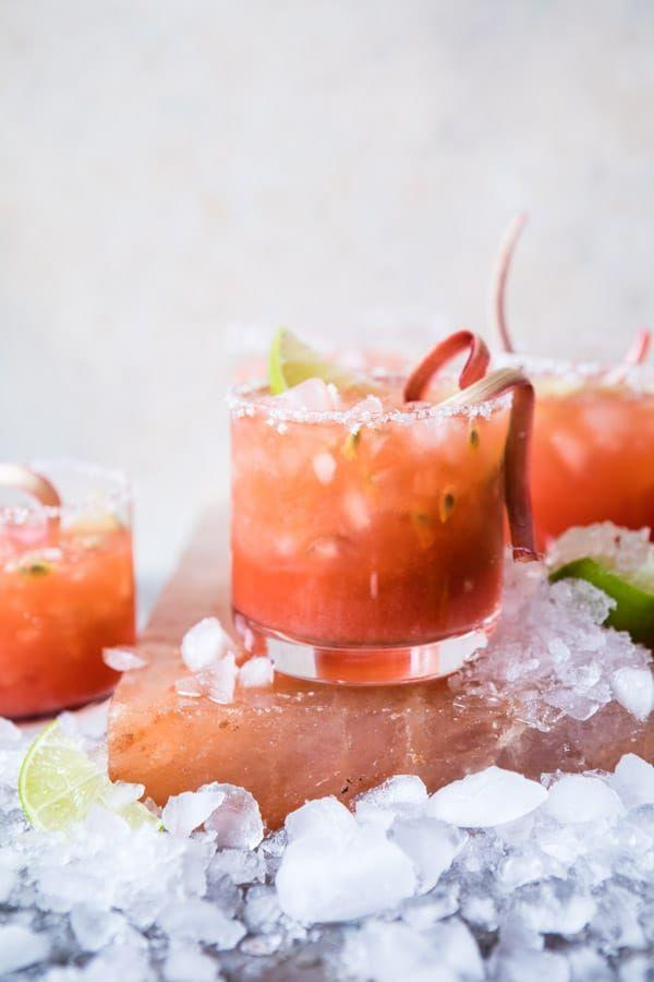 """<p>For an adult-twist on rhubarb lemonade, look no further than this sweet, bright margarita. </p><p><strong>Get the recipe from <a href=""""https://www.halfbakedharvest.com/rhubarb-passion-margarita/"""" rel=""""nofollow noopener"""" target=""""_blank"""" data-ylk=""""slk:Half Baked Harvest"""" class=""""link rapid-noclick-resp"""">Half Baked Harvest</a>.</strong></p>"""