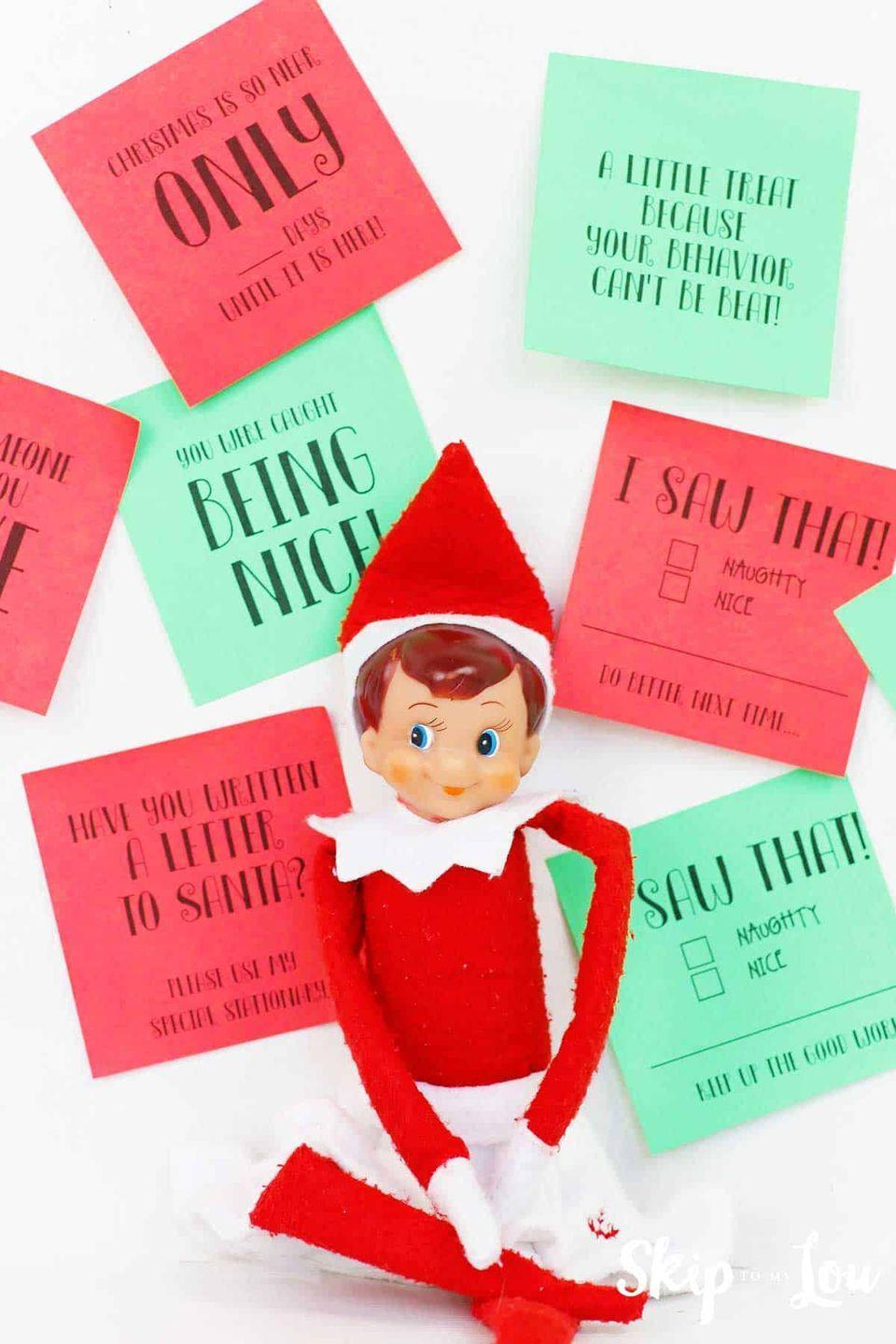 """<p>Need a little help getting into the spirit this year? These printable Elf sticky notes make it so easy to come up with daily ideas of things for your little guy (or gal) to do and say.</p><p><strong>Get the tutorial at <a href=""""https://www.skiptomylou.org/elf-on-the-shelf-notes/"""" rel=""""nofollow noopener"""" target=""""_blank"""" data-ylk=""""slk:Skip to My Lou"""" class=""""link rapid-noclick-resp"""">Skip to My Lou</a>.</strong></p><p><strong><a class=""""link rapid-noclick-resp"""" href=""""https://go.redirectingat.com?id=74968X1596630&url=https%3A%2F%2Fwww.walmart.com%2Fsearch%2F%3Fquery%3Delf%2Bon%2Bthe%2Bshelf&sref=https%3A%2F%2Fwww.thepioneerwoman.com%2Fholidays-celebrations%2Fg34080491%2Ffunny-elf-on-the-shelf-ideas%2F"""" rel=""""nofollow noopener"""" target=""""_blank"""" data-ylk=""""slk:SHOP ELF ON THE SHELF"""">SHOP ELF ON THE SHELF</a><br></strong></p>"""