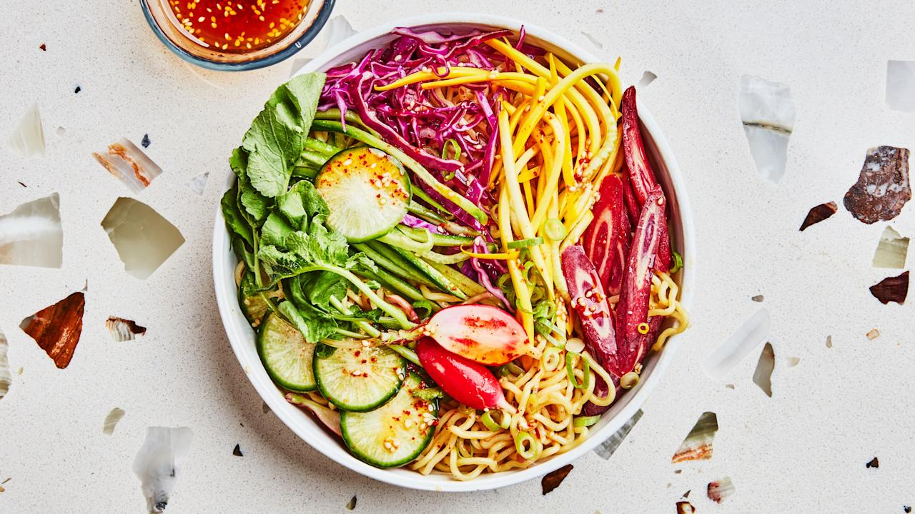 "When <a href=""https://www.brunettewinebar.com/"">Brunette wine bar</a> in upstate NY posted a photo of their hiyashi chuka and captioned it, ""This ramen is basically a salad,"" we were instantly hooked on the idea of what a cold noodle salad dish could be. <a href=""https://www.bonappetit.com/recipe/salad-ramen?mbid=synd_yahoo_rss"">See recipe.</a>"