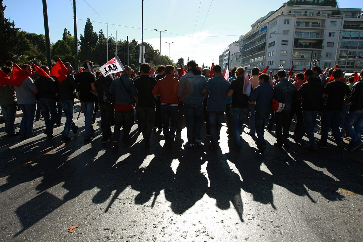 Protesters take part in a rally on the first day of the 48-hour nationwide general strike, in Athens.