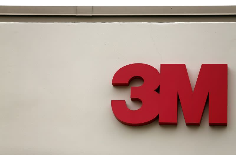 The logo of Down Jones Industrial Average stock market index listed company 3M