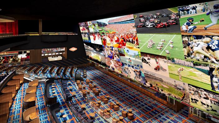 "An artist's rendering of the three-story sportsbook at Circa, which is is slated to open Oct. 28. <span class=""copyright"">(Steelman Partners)</span>"