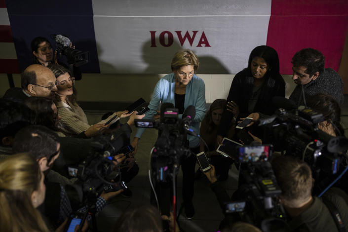 Sen. Elizabeth Warren (D-Mass.), a Democratic presidential candidate, speaks to reporters during a campaign event in Mason City, Iowa, Jan. 11, 2020. (Tamir Kalifa/The New York Times)