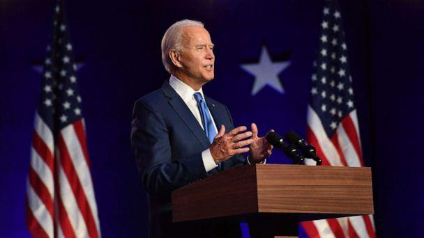 PHOTO: Democratic presidential nominee Joe Biden delivers remarks at the Chase Center in Wilmington, Del., Nov. 6, 2020. (Angela Weiss/AFP via Getty Images)